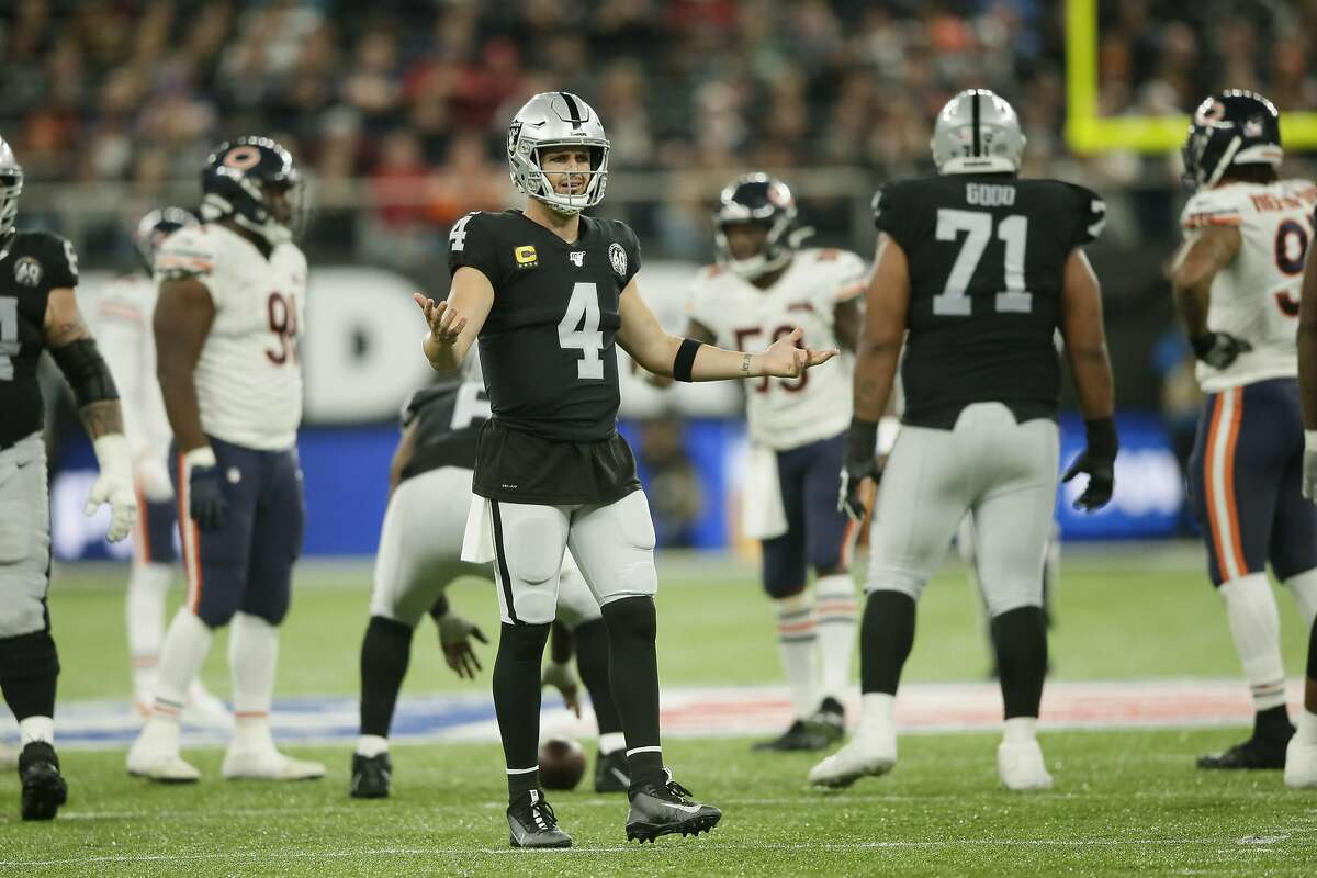 Oakland Raiders quarterback Derek Carr (4) reacts during the second half of an NFL football game against the Chicago Bears at Tottenham Hotspur Stadium, Sunday, Oct. 6, 2019, in London. (AP Photo/Tim Ireland)
