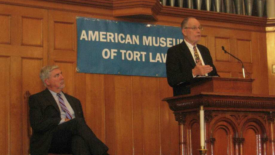 The American Museum of Tort Law held its first Tort Law Education Day on Saturday at the United Methodist Church in Winsted. Above, attorney Anthony Roisman addresses the audience, while executive director Richard Newman listens. Photo: John Torsiello / For Hearst Connecticut Media /