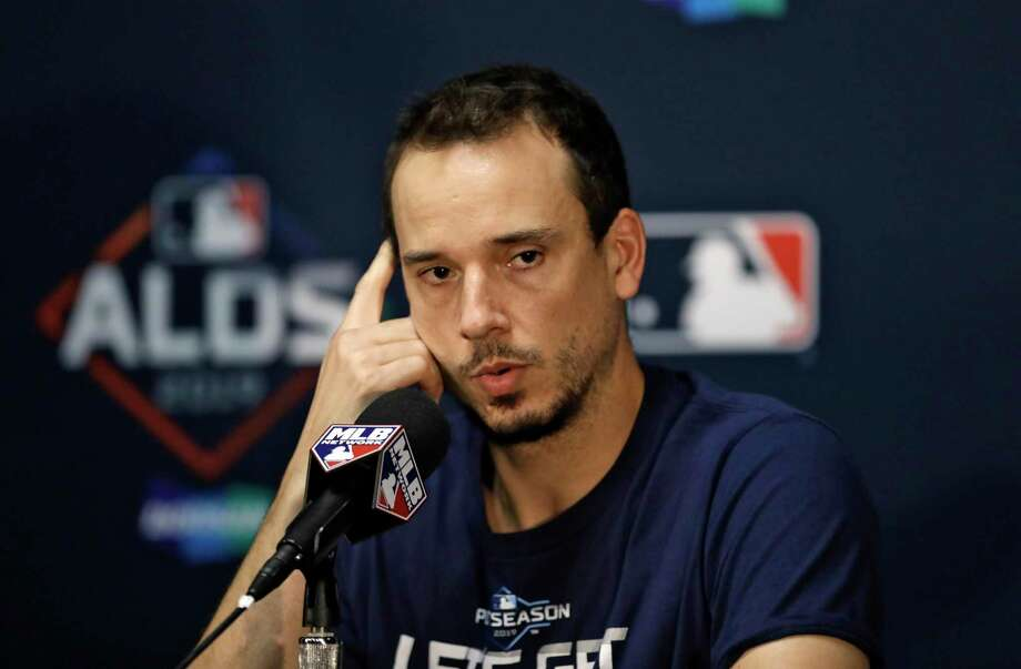 Tampa Bay Rays starting pitcher Charlie Morton answers a question during a news conference Sunday, Oct. 6, 2019, in St. Petersburg, Fla. The Rays take on the Houston Astros in Game 3 of a baseball American League Division Series on Monday. Photo: Chris O'Meara, STF / Associated Press / Copyright 2019 The Associated Press. All rights reserved.