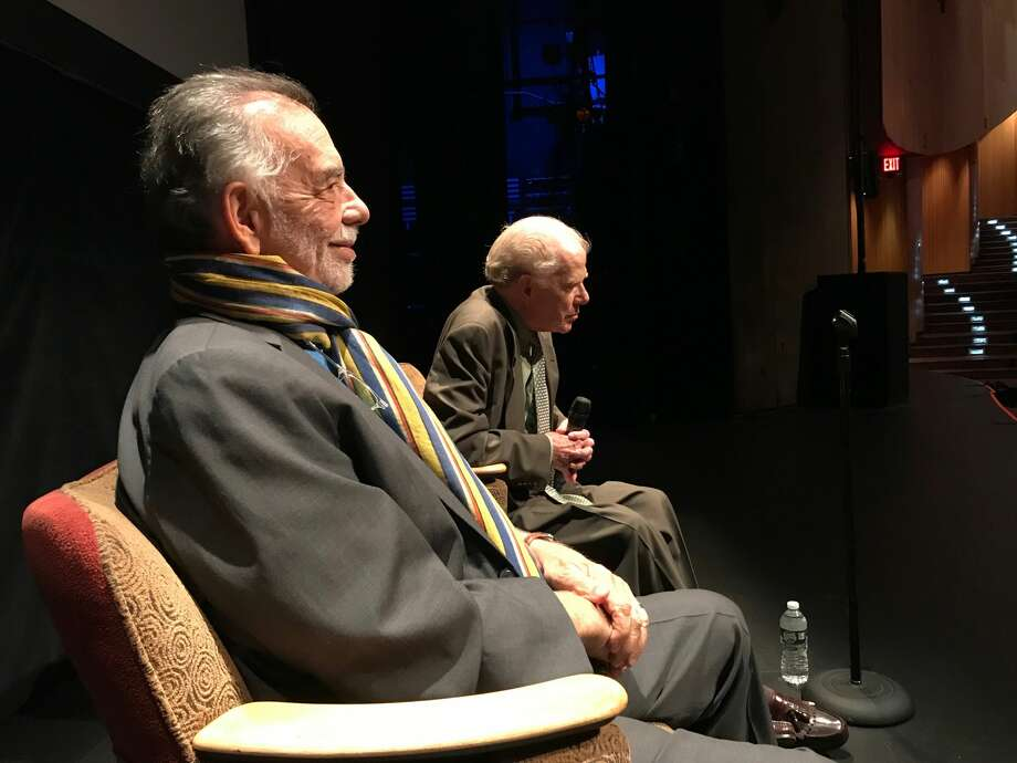 "Director Francis Ford Coppola and author William Kennedy discuss the 1984 film ""The Cotton Club,"" which the pair co-wrote, at an event at The Egg on Sunday, Oct. 6, 2019. Photo: Paul Grondahl/Times Union"