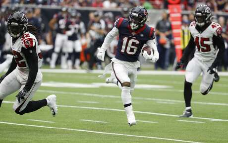 Houston Texans wide receiver Keke Coutee (16) runs past Atlanta Falcons defensive back Johnathan Cyprien (32) as he makes a first down reception during an NFL football game at NRG Stadium on Sunday, Oct. 6, 2019, in Houston.