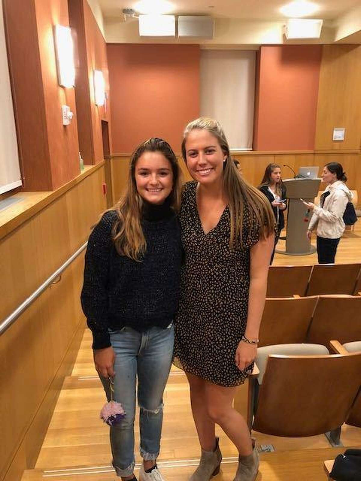 Darien's Lily Genovese and guest speaker Emily Torchiana
