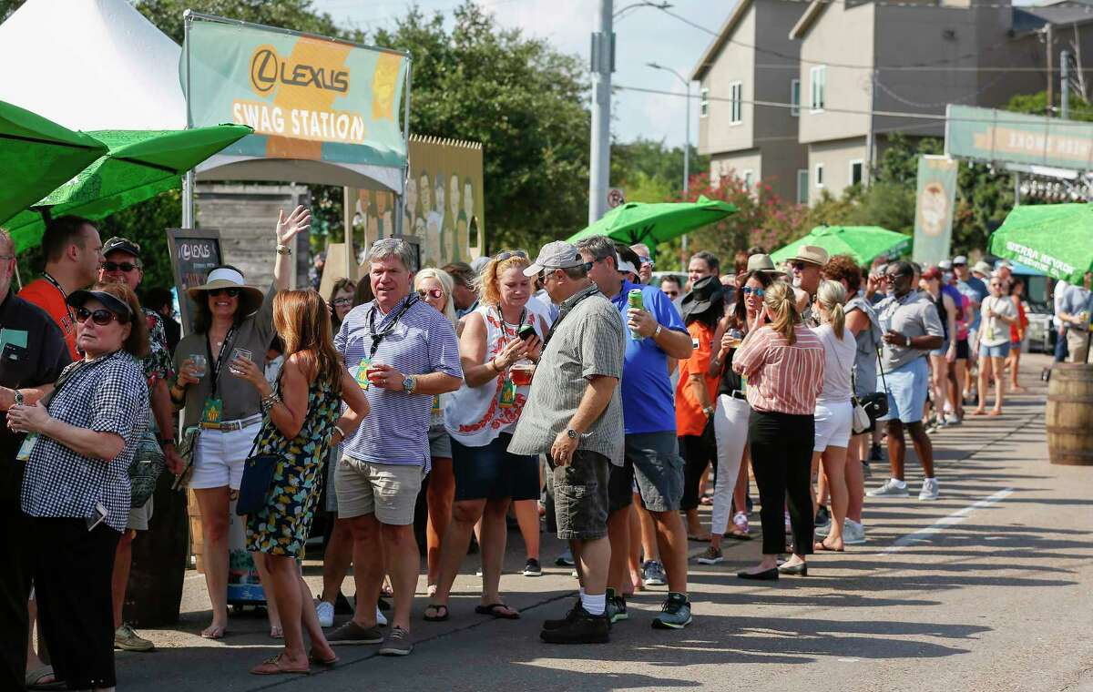 Festival goers wait in line to sample Aaron Franklin's brisket during the 2019 Southern Smoke Festival onSunday, Oct. 6.