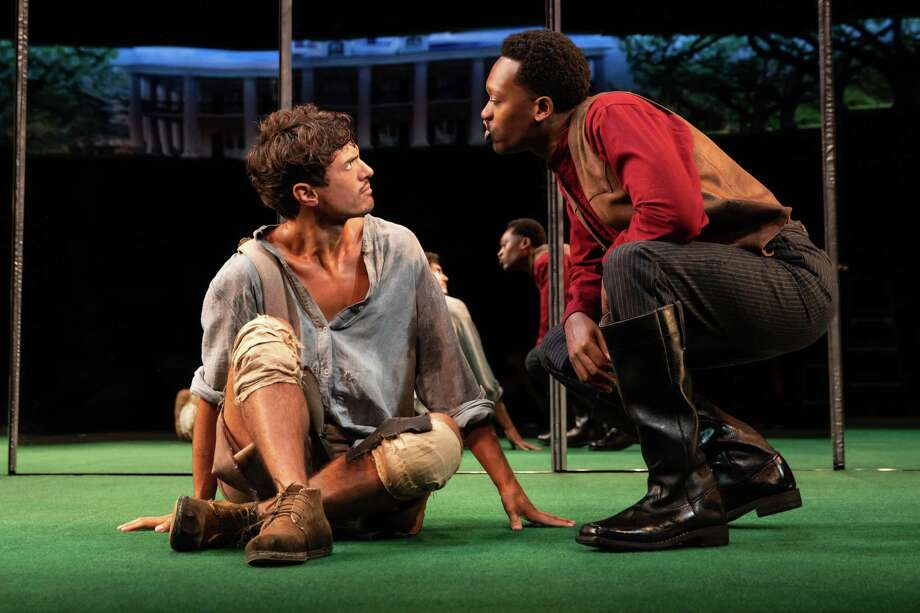 "Dustin (James Cusati-Moyer), left, faces escalating confrontations with Gary (Ato Blankson-Wood) in ""Slave Play."" Photo: Handout Photo By Matthew Murphy/John Golden Theatre / Handout"