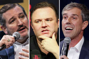 Ted Cruz, Daryl Morey and Beto O'Rourke are pictured together in this composite photo.