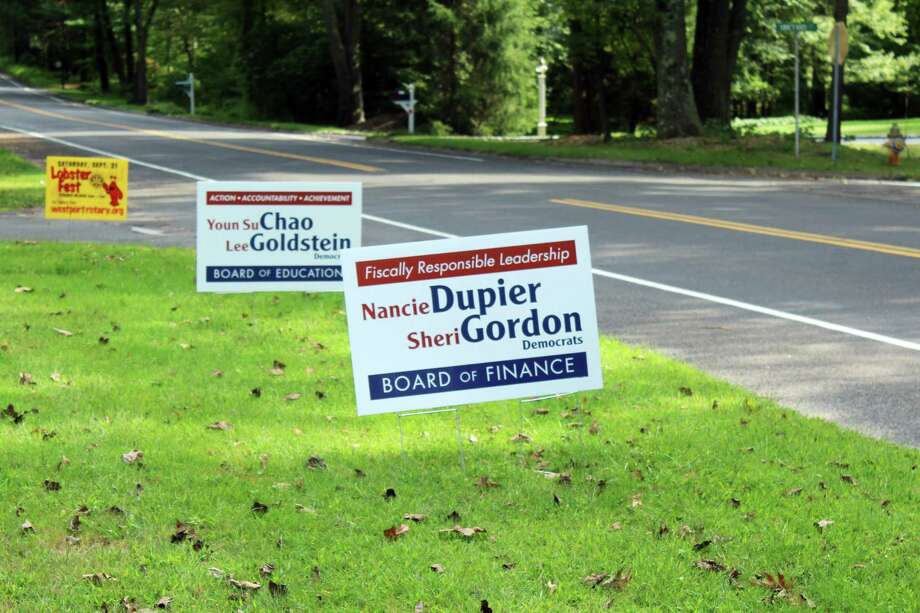 Election season is well underway with signs of candidates being seen around town. Taken on 180 Bayberry Lane in Westport, CT. on Sept. 10, 2019. Photo: Lynandro Simmons/Hearst Connecticut Media