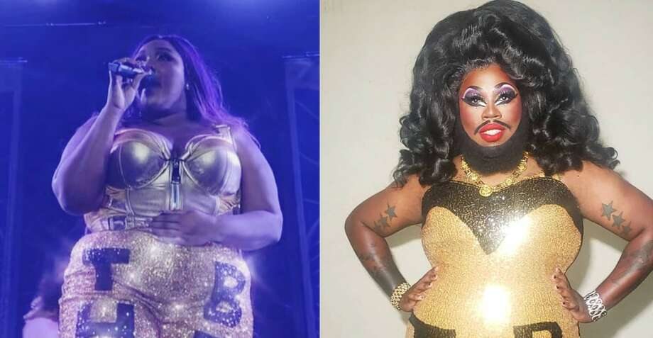 Lizzo, left, and Houston drag queen Blackberri. Photo: Angelo S. Ortiz Vela