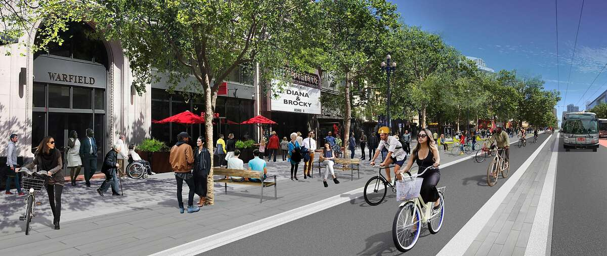 A rendering that shows the plan for a redesigned Market Street east of Van Ness Avenue in San Francisco -- with red bricks replaced by gray pavers and new sidewalk-level bicycle lanes.