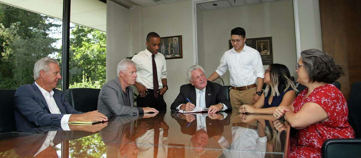 Norwalk Mayor Harry Rilling, who will seek his fourth term this November, with United Food and Commercial Workers (UFCW) President Tom Wilkinson and UCFW Secretary-Treasurer Ron Petronella at the local chapter headquaters, in Westport, Conn.