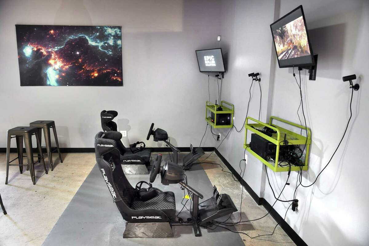 A racing simulator at The Spot VR Lounge in Orange