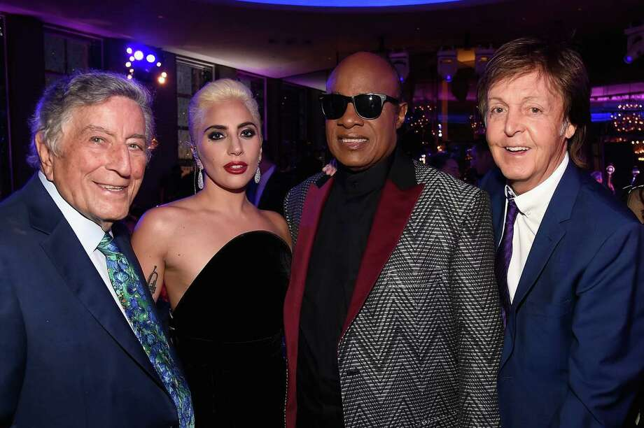 Tony Bennett, at left, at his 90th birthday in New York City with Lady Gaga, Stevie Wonder and Sir Paul McCartney. Photo: Kevin Mazur / Getty Images / Contributed Photo /