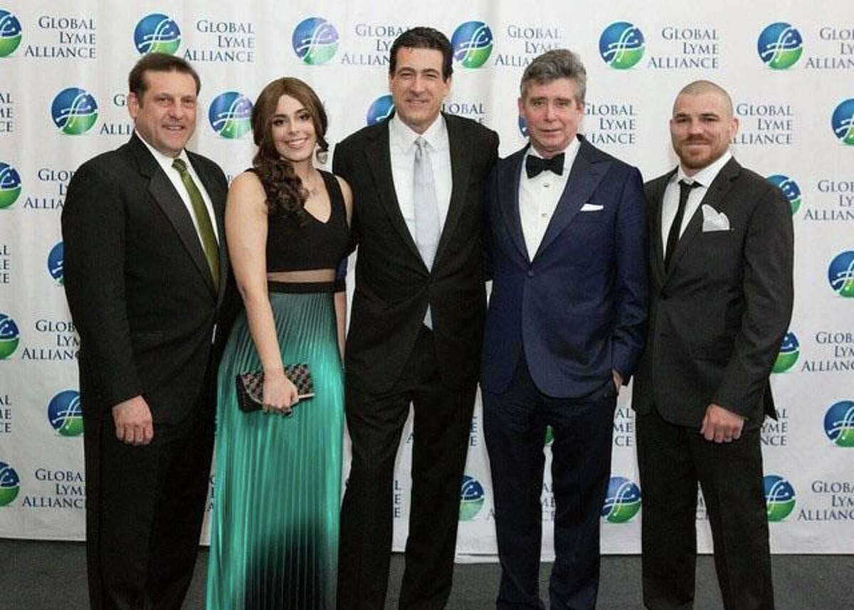 From left: Scott Santarella, Marina Morgan, Robert Kobre, Jay McInerney and Jim Miller were among the guests at the recent gala for the Global Lyme Alliance, a fund-raiser that collected nearly $800,000 for research into a cure for Lyme Disease and other tick-borne illnesses. The gala, held at the Hyatt Regency on April 1, drew U.S. Sen. Richard Blumenthal and other celebrities to the event. Emcee for the night was television personality and Greenwich resident Gretchen Carlson.
