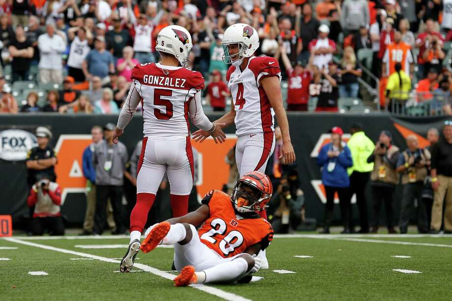 CINCINNATI, OH - OCTOBER 6: Zane Gonzalez #5 of the Arizona Cardinals is congratulated by Andy Lee #4 after kicking the game-winning field goal during the fourth quarter against the Cincinnati Bengals at Paul Brown Stadium on October 6, 2019 in Cincinnati, Ohio. Arizona defeated Cincinnati 26-23. (Photo by Kirk Irwin/Getty Images) Photo: Kirk Irwin, Stringer / Getty Images / 2019 Getty Images