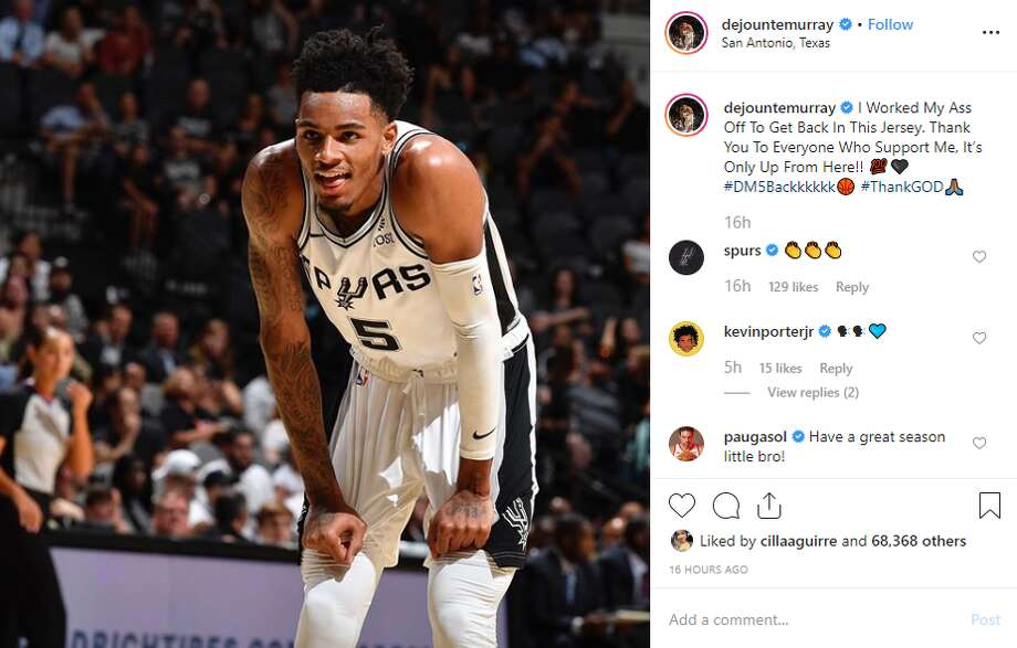 """Thank You To Everyone Who Support Me, It's Only Up From Here,"" Dejounte Murray said in an Instagram post on Sunday. Photo: Instagram Screengrab"
