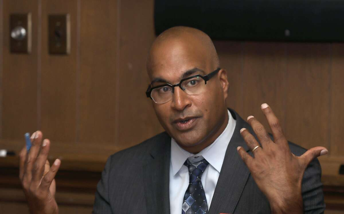 Public defender incumbent Manohar Raju talks with the SFChronicle editorial board members on Tuesday, Oct. 1, 2019, in San Francisco, Calif.