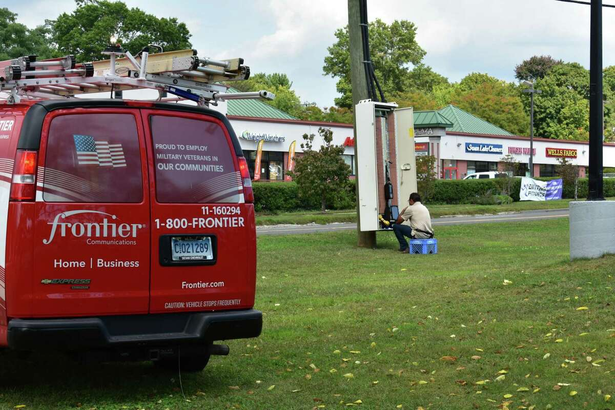A Frontier Communications technician in September 2017 in Norwalk, Conn., where Frontier has its headquarters.