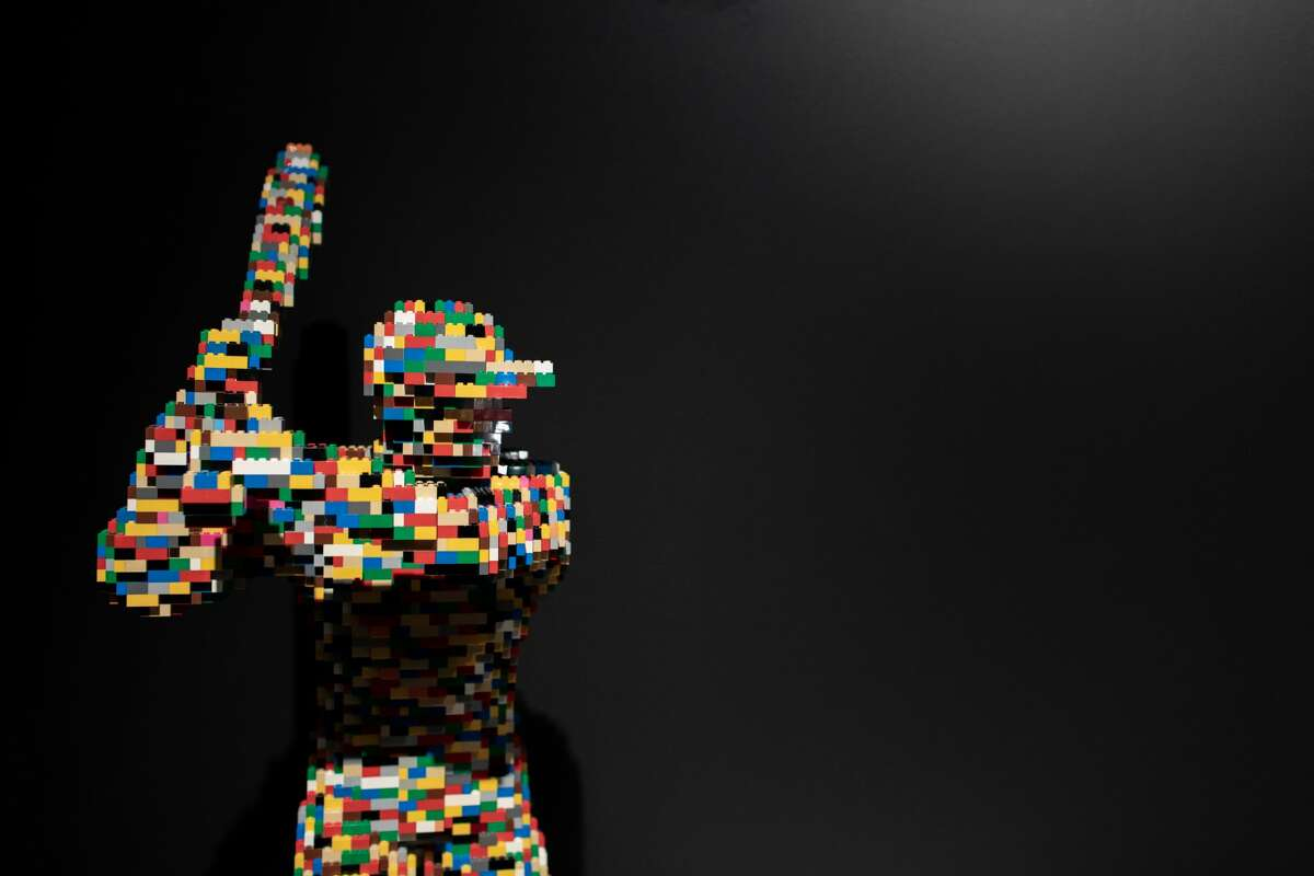 A new exhibit featuring art made exclusively from Lego bricks makes its debut at the Houston Museum of Natural Science on Monday.