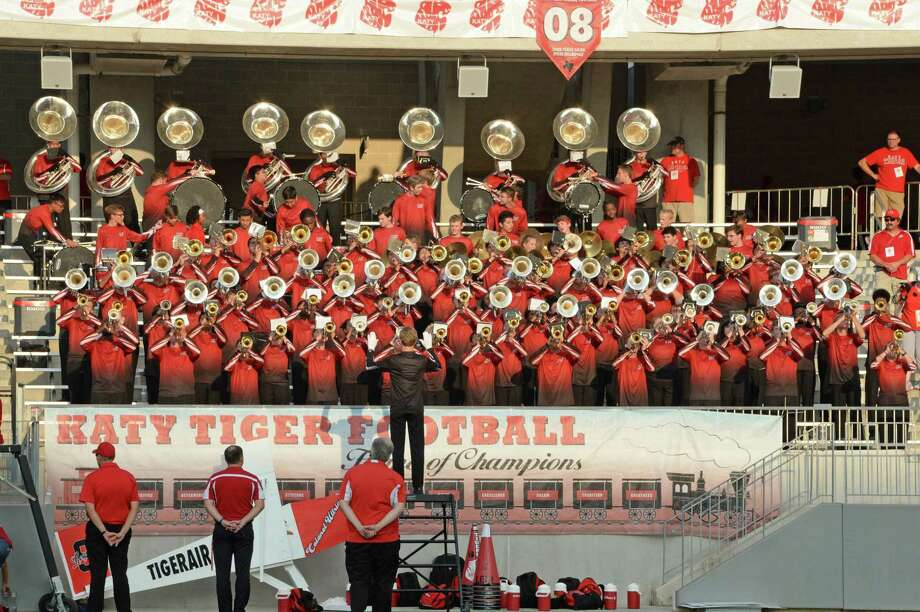 The Katy Tigers' Band plays their school song before the start of a 6A Region III District 19 football game between the Katy Tigers and the Tompkins Falcons on Thursday, October 3, 2019 at Legacy Stadium, Katy, TX. Photo: Craig Moseley, Houston Chronicle / Staff Photographer / ©2019 Houston Chronicle