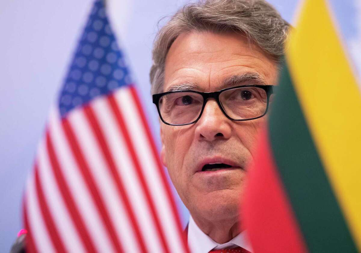 U.S. Energy Secretary Rick Perry speaks during a news conference following of the forum Partnership for Transatlantic Energy Cooperation (P-TEC) in the Radisson Blu Hotel Lietuva, in Vilnius, Lithuania, Monday, Oct. 7, 2019. (AP Photo/Mindaugas Kulbis)