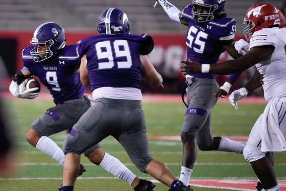 Ridge Point linebacker Jacob Tubbs (9) advances the ball after recovering a fumble during the first half of a high school football game against North Shore, Thursday, Sept. 5, 2019, at TDECU Stadium at the University of Houston.