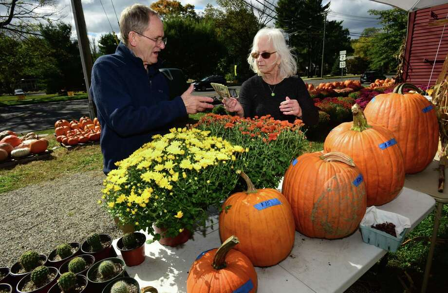 Wilton Kiwanis member Jerry Sprole sells pumpkins and mums to Wilton resident Beverly Titus Clancy at the Wilton Historical Society Friday, Oct. 4. Photo: Erik Trautmann / Hearst Connecticut Media / Norwalk Hour