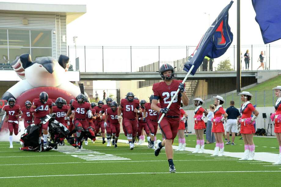 The Tompkins Falcons take the field for a 6A Region III District 19 football game with the Katy Tigers on Thursday, October 3, 2019 at Legacy Stadium, Katy, TX. Photo: Craig Moseley, Houston Chronicle / Staff Photographer / ©2019 Houston Chronicle
