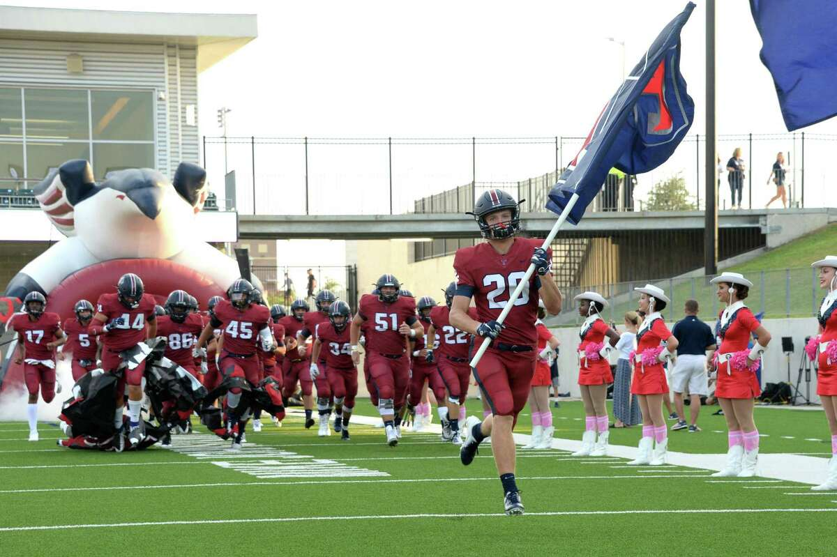 The Tompkins Falcons take the field for a 6A Region III District 19 football game with the Katy Tigers on Thursday, October 3, 2019 at Legacy Stadium, Katy, TX.