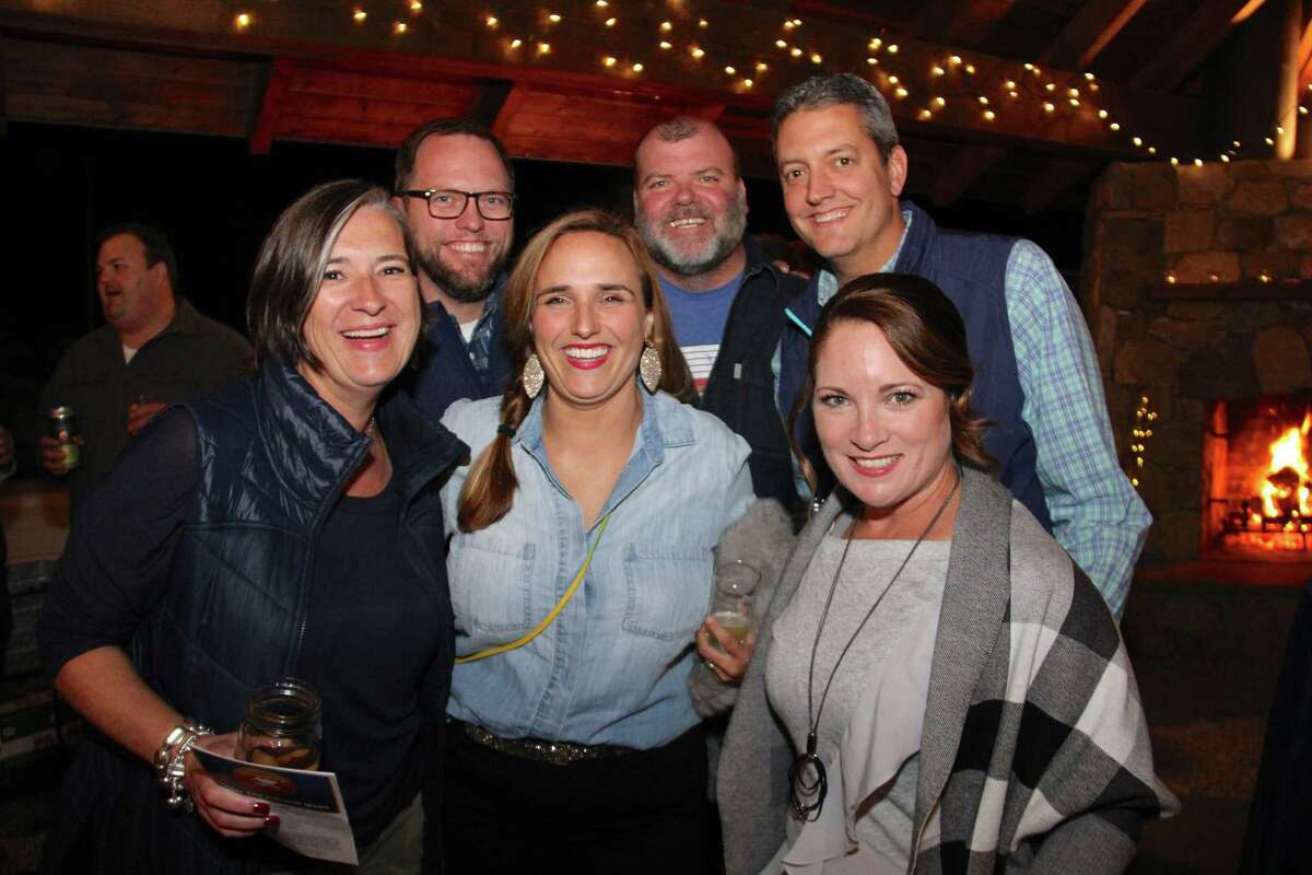 Enjoying the Under the Harvest Moon gala at Woodcock Nature Center on Sept. 13, were, from left, in front, Vanessa Elias, Emily DuBrock and Tara Kovach. In back are Mark DuBrock, Eugene Elias and Adam Kovach.