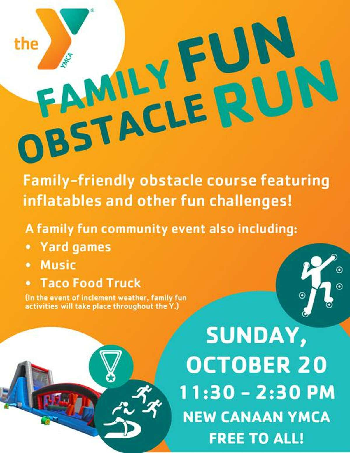 The New Canaan YMCA will host a family-friendly obstacle course on Sunday, Oct. 20.