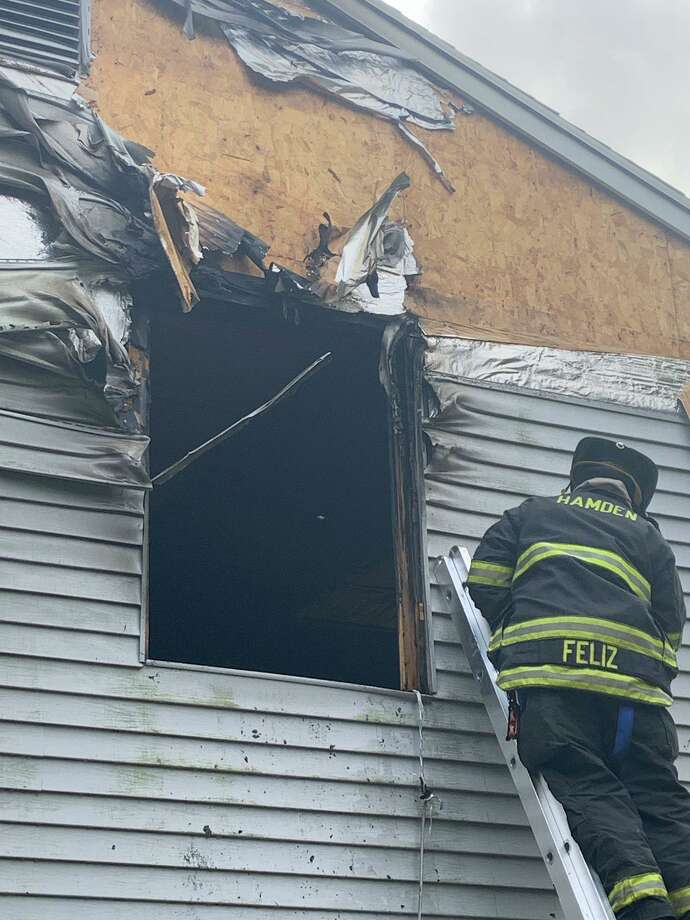 Firefighters knocked down a fire on Russo Drive in Hamden Monday. Photo: Hamden Fire Department