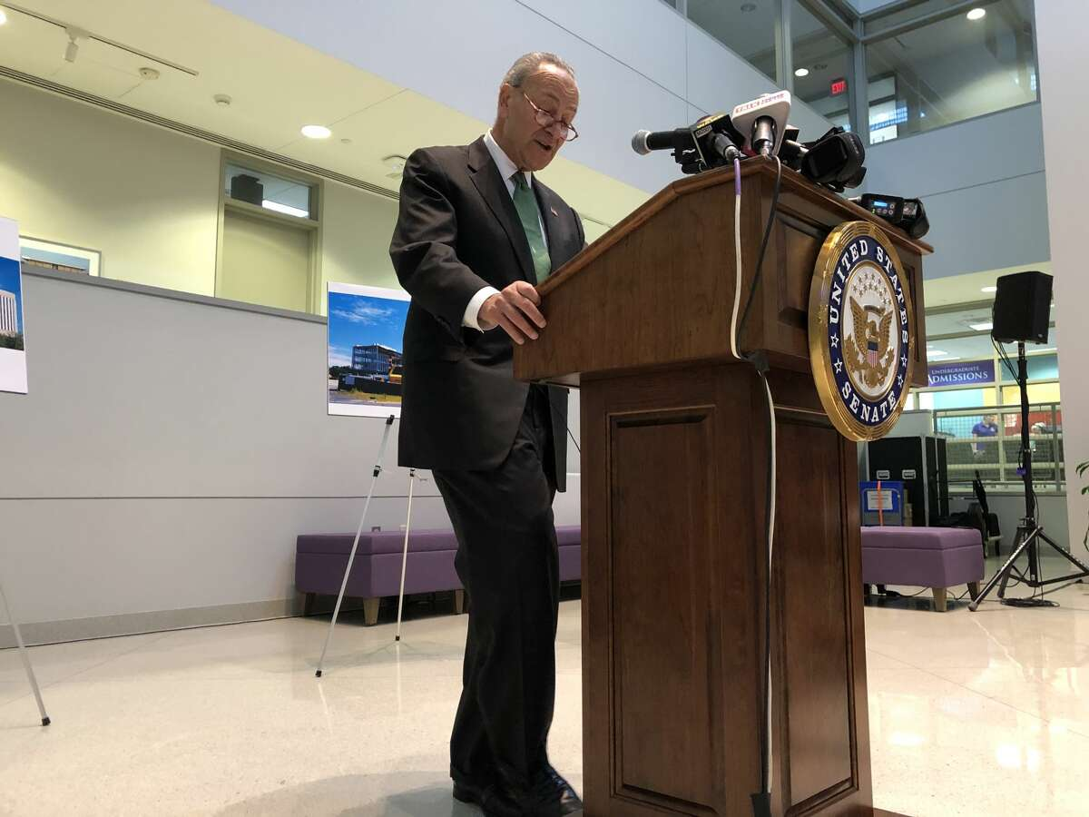 Senate Minority Leader Charles E. Schumer speaks at a press conference about cybersecurity education at the University at Albany on Monday, Oct. 7, 2019.