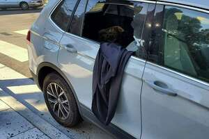 The black tablecloth Sabrina used to shroud her valuable objects is seen dangling out of the smashed rear passenger window of her Volkswagen.