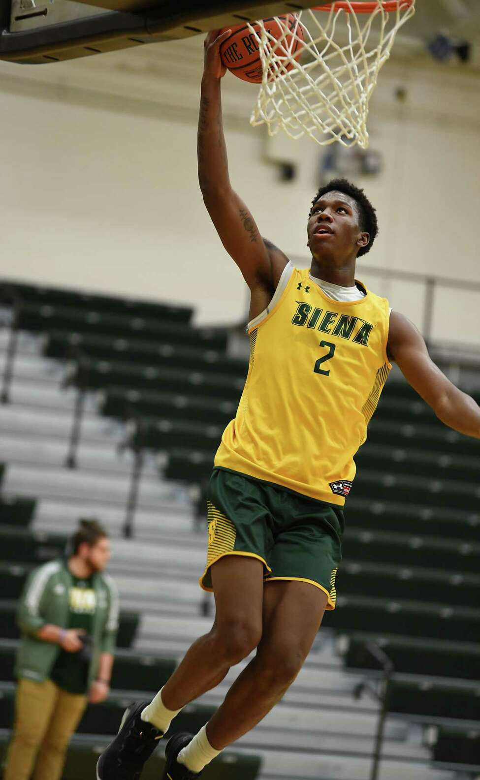 Gary Harris, Jr. goes up for a shot as Siena men's basketball holds an open practice for fans at the Alumni Recreation Center at Siena College on Monday, Oct. 7, 2019 in Loudonville, N.Y. (Lori Van Buren/Times Union)