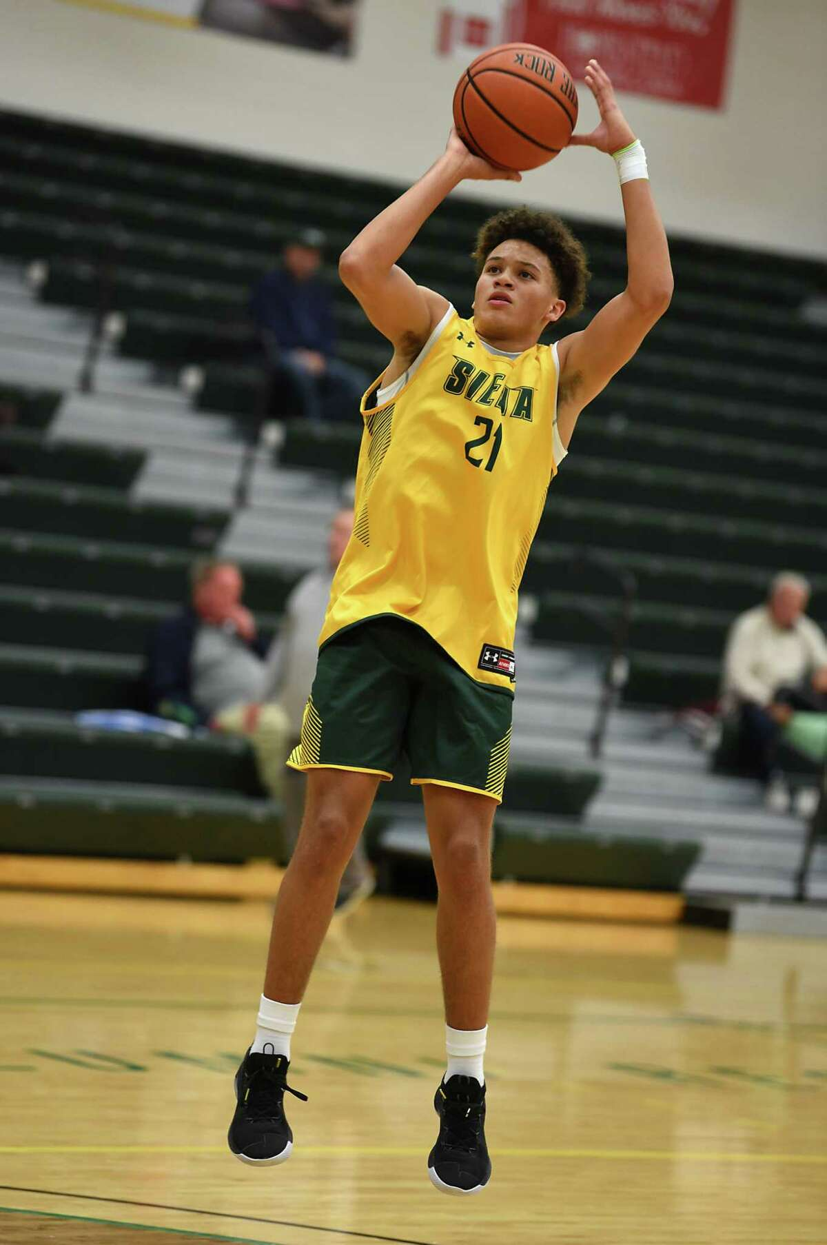 Jordan King goes up for a shot as Siena men's basketball holds an open practice for fans at the Alumni Recreation Center at Siena College on Monday, Oct. 7, 2019 in Loudonville, N.Y. (Lori Van Buren/Times Union)
