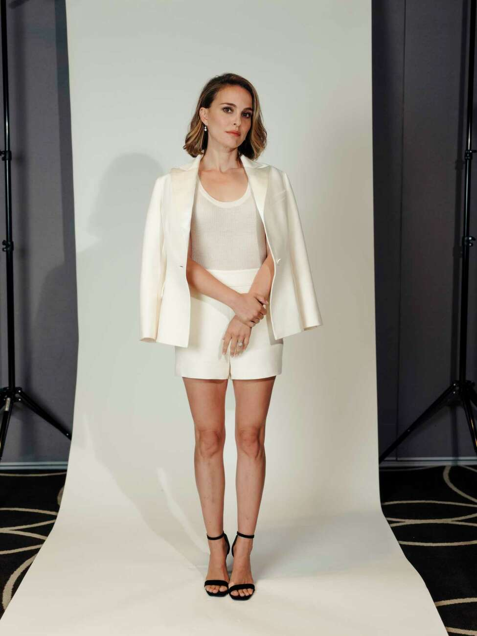 -- PHOTO MOVED IN ADVANCE AND NOT FOR USE - ONLINE OR IN PRINT - BEFORE OCT. 06, 2019. -- Natalie Portman at the W Hollywood in Los Angeles, Calif., Sept. 25, 2019. The actor has finally fulfilled a childhood dream, sort of, by climbing into a spacesuit to play a tormented astronaut in the new film a€œLucy in the Sky.a€ And soon shea€™ll wield the hammer as female Thor. (Rozette Rago/The New York Times)