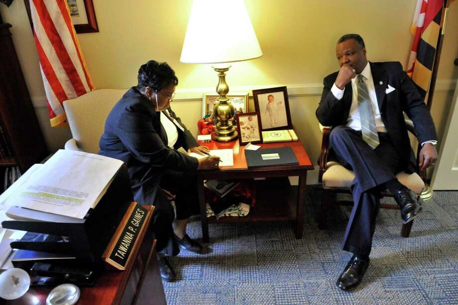 Maryland Del. Tawanna Gaines, D-Prince George's, and then-Prince George's County Executive Rushern Baker during a meeting in Annapolis in 2011. Photo: Washington Post Photo By Mark Gail / The Washington Post