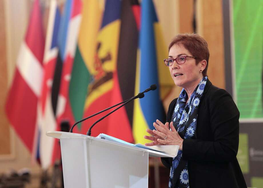 Former U.S. ambassador to Ukraine Marie Yovanovitch speaks at the 12th Kyiv Security Forum, Kyiv, Ukraine, on April 11, 2019. Photo: Hennadii Minchenko /Ukrinform / TNS / Zuma Press