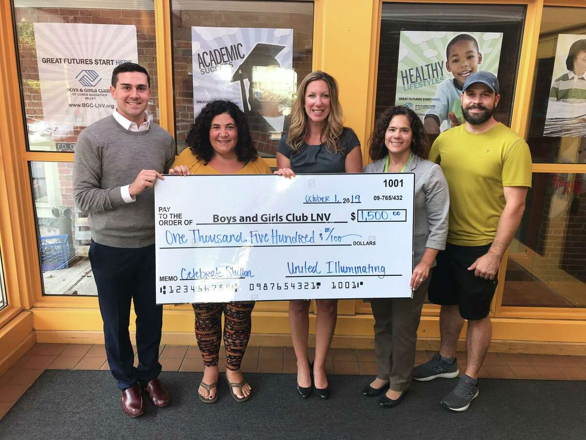 Jimmy Tickey, left, Nicole Mikuka and Michael Skrtic of Celebrate Shelton along with Eileen Lopez-Cordone of United Illuminating presented a check for $1,500 to Boys & Girls Club of the Lower Naugatuck Valley. Boys & Girls Club of the Lower Naugatuck Valley President Shaye Roscoe accepted the check.