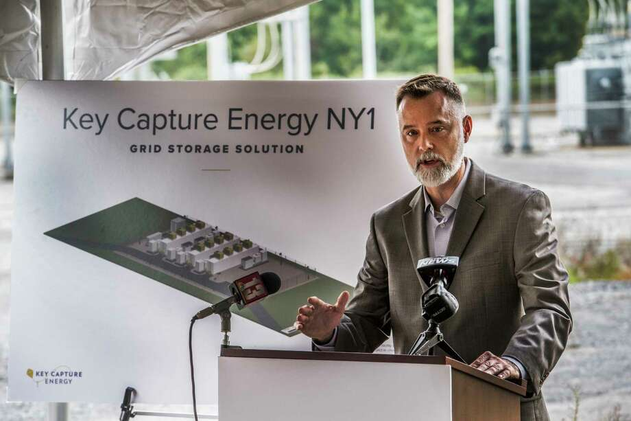 Dan Fitzgerald, chief development officer speaks at the groundbreaking for the new utility-scale battery storage project Wednesday Sept.26, 2018 in Stillwater, N.Y.  (Skip Dickstein/Times Union) Photo: SKIP DICKSTEIN / 20044946A