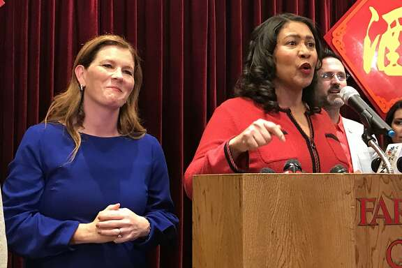 Mayor London Breed (right) speaks at a press conference at Far East Cafe regarding the appointment of Suzy Loftus (left) as interim district attorney on Friday October 4, 2019 in San Francisco, Calif.