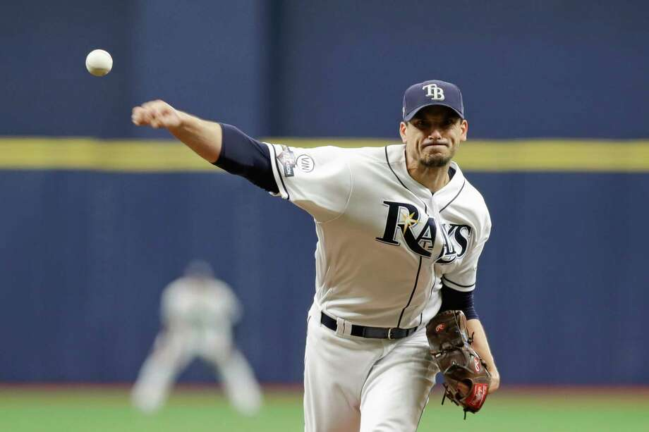 Tampa Bay Rays starting pitcher Charlie Morton (50) throws during the first inning of Game 3 of a baseball American League Division Series against the Houston Astros, Monday, Oct. 7, 2019, in St. Petersburg, Fla. (AP Photo/Chris O'Meara, Pool) Photo: Chris O'Meara / Copyright 2019 The Associated Press. All rights reserved