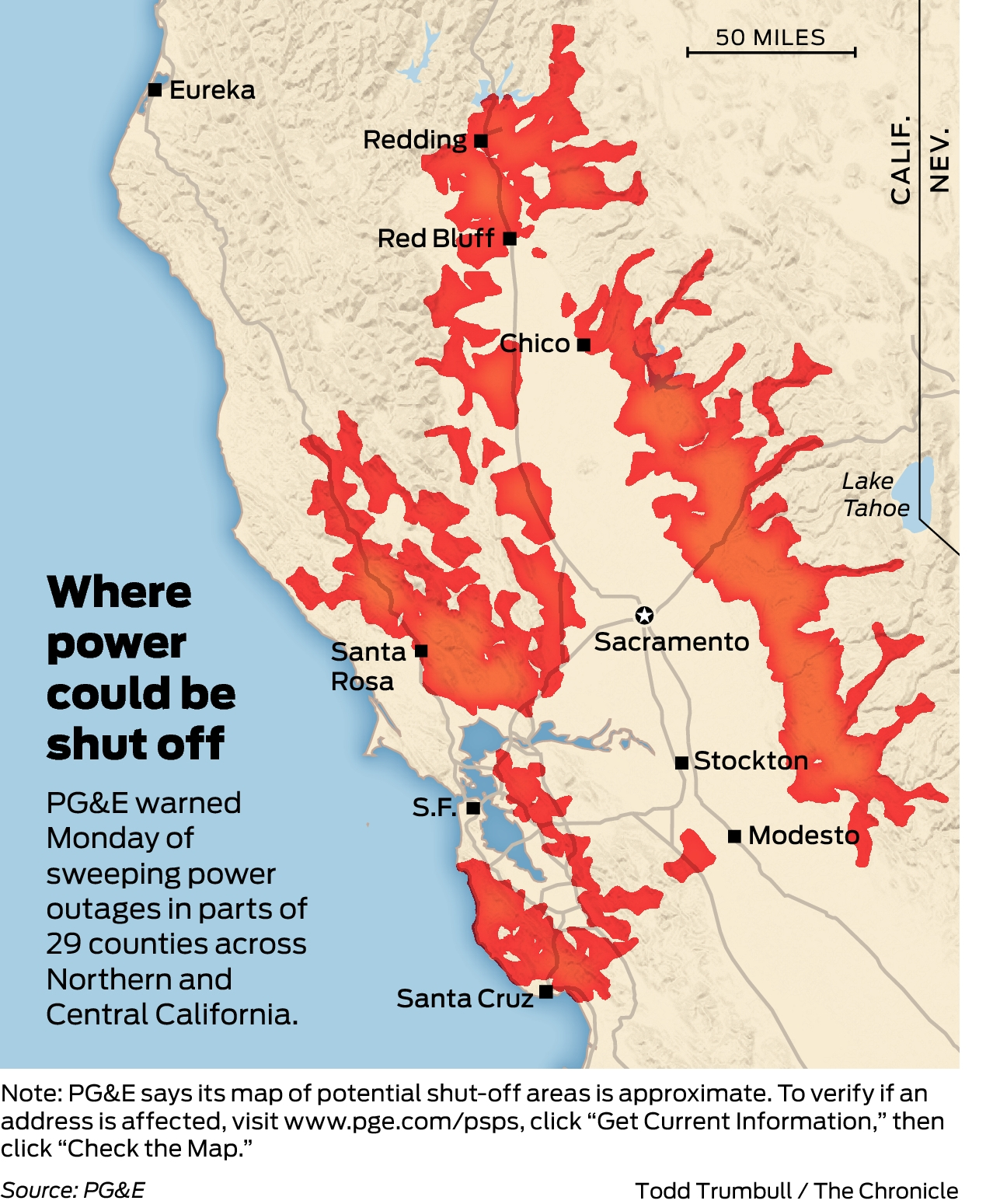 Sf Power Outage Map PG&E releases list of California cities, counties on power shut