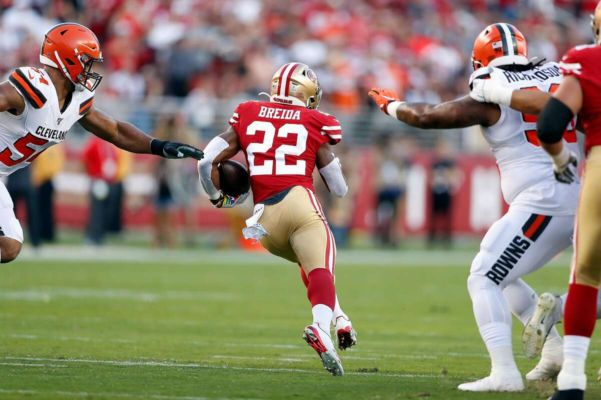 San Francisco 49ers' Matt Breida heads off on an 83-yard touchdown run in 1st quarter against Cleveland Browns during NFL game at Levi's Stadium in Santa Clara, Calif., on Monday, October 7, 2019.