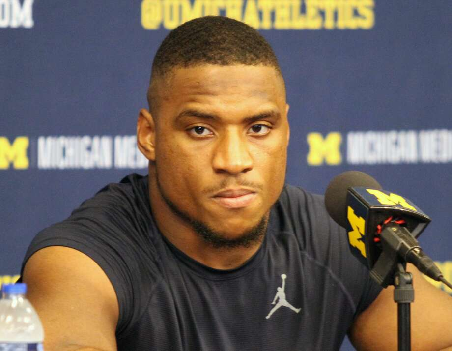 Michigan linebacker Khaleke Hudson speaks with the media after UM's 10-3 victory over Iowa on Saturday, Oct. 5. Photo: Eric Rutter/Huron Daily Tribune