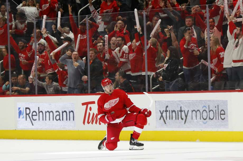 Detroit Red Wings right wing Anthony Mantha celebrates his goal during the third period of the team's NHL hockey game against the Dallas Stars, Sunday, Oct. 6, 2019, in Detroit. Mantha scored all the team's goals in a 4-3 win. Photo: AP Photo/Paul Sancya / Copyright 2019 The Associated Press. All rights reserved
