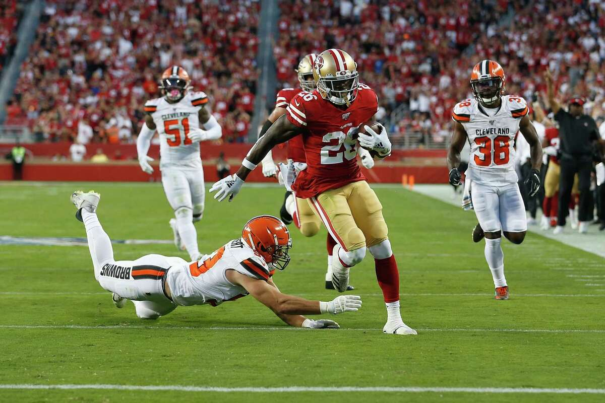 Tevin Coleman #26 of the San Francisco 49ers runs into the end zone to score a touchdown in the second quarter against the Cleveland Browns at Levi's Stadium on October 07, 2019 in Santa Clara, California.
