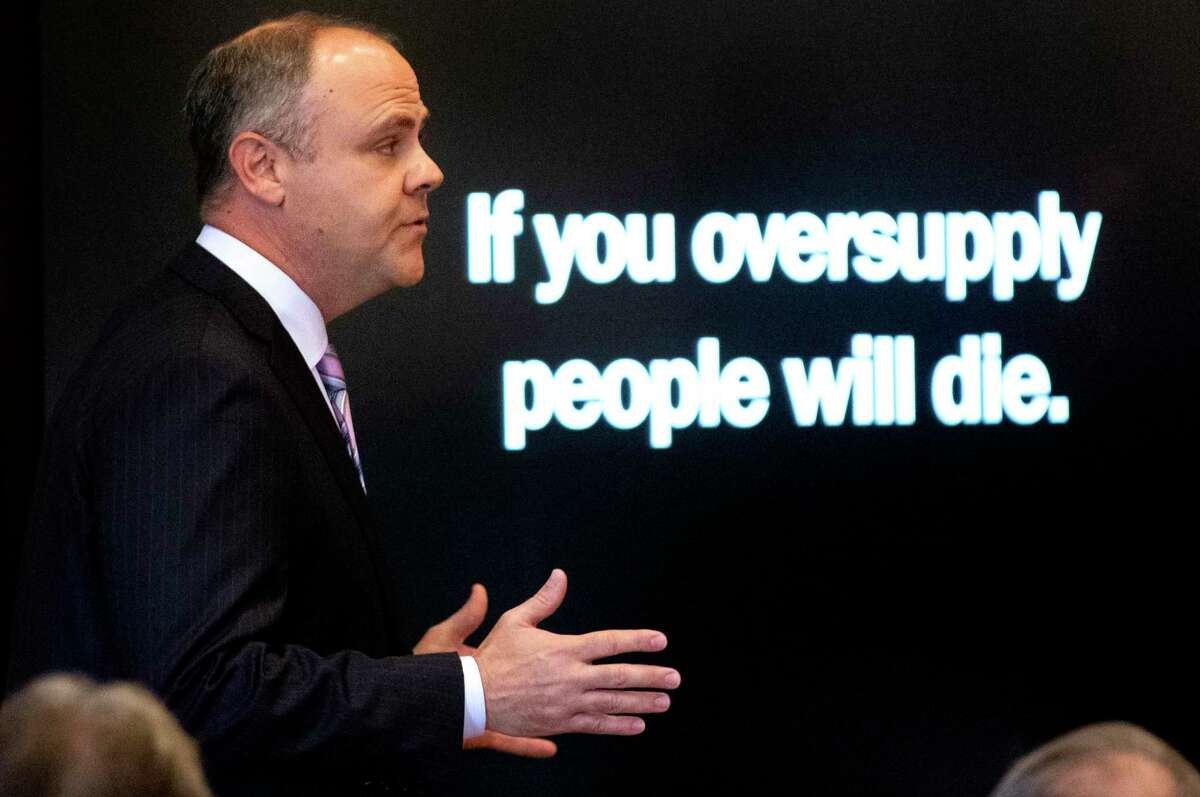 State's attorney Brad Beckworth presents information in the opening statements during the Oklahoma v. Purdue Pharma opioid trial at the Cleveland County Courthouse in Norman, Okla. on May 28. For justice to be had in the drug epidemic, the drug companies must be held accountable in court.
