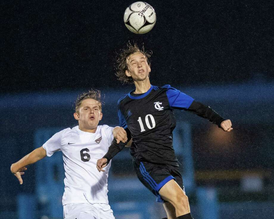 Ichabod Crane midfielder Jack Goldman (right) gets a head on the ball in front of Mohonasen midfielder Kyle Shendler during a Colonial Council matchup at Ichabod Crane High School on Monday, Oct. 7, 2019 (Jim Franco/Special to the Times Union.) Photo: James Franco / 40047962A