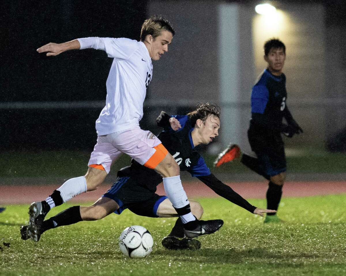 Ichabod Crane midfielder Jack Goldman (right) fights for possession with Mohonasen midfielder Evan Schmidt during a Colonial Council matchup at Ichabod Crane High School on Monday, Oct. 7, 2019 (Jim Franco/Special to the Times Union.)
