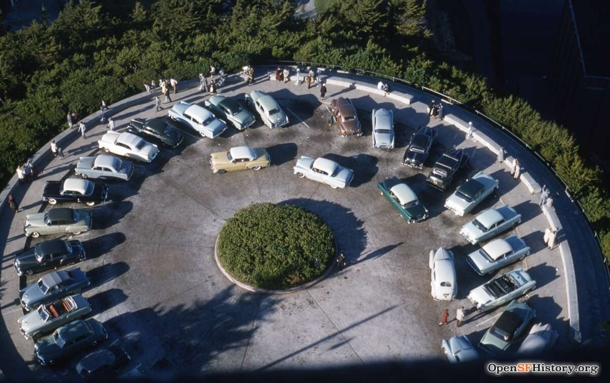The Coit Tower parking lot in 1958.